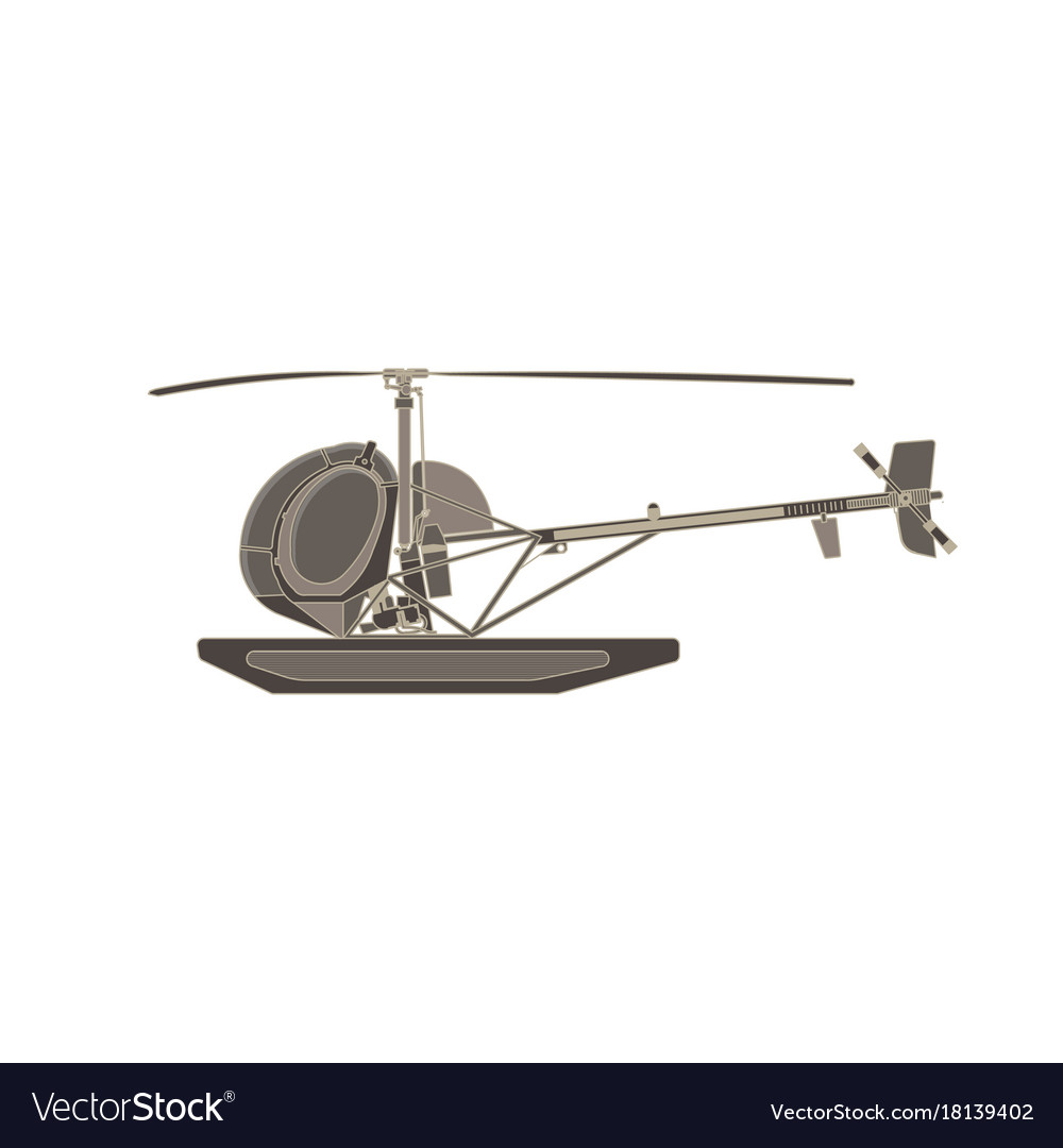 Helicopter flat icon isolated aircraft side view