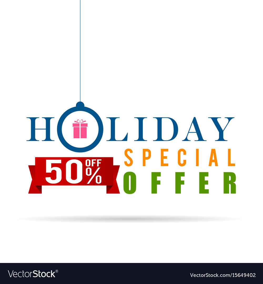 Holiday special offer sale icon design in colorful vector image