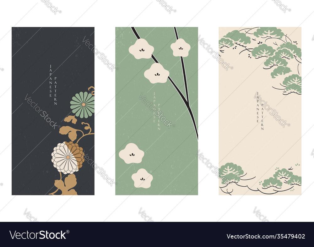 Japanese floral background asian banner vintage