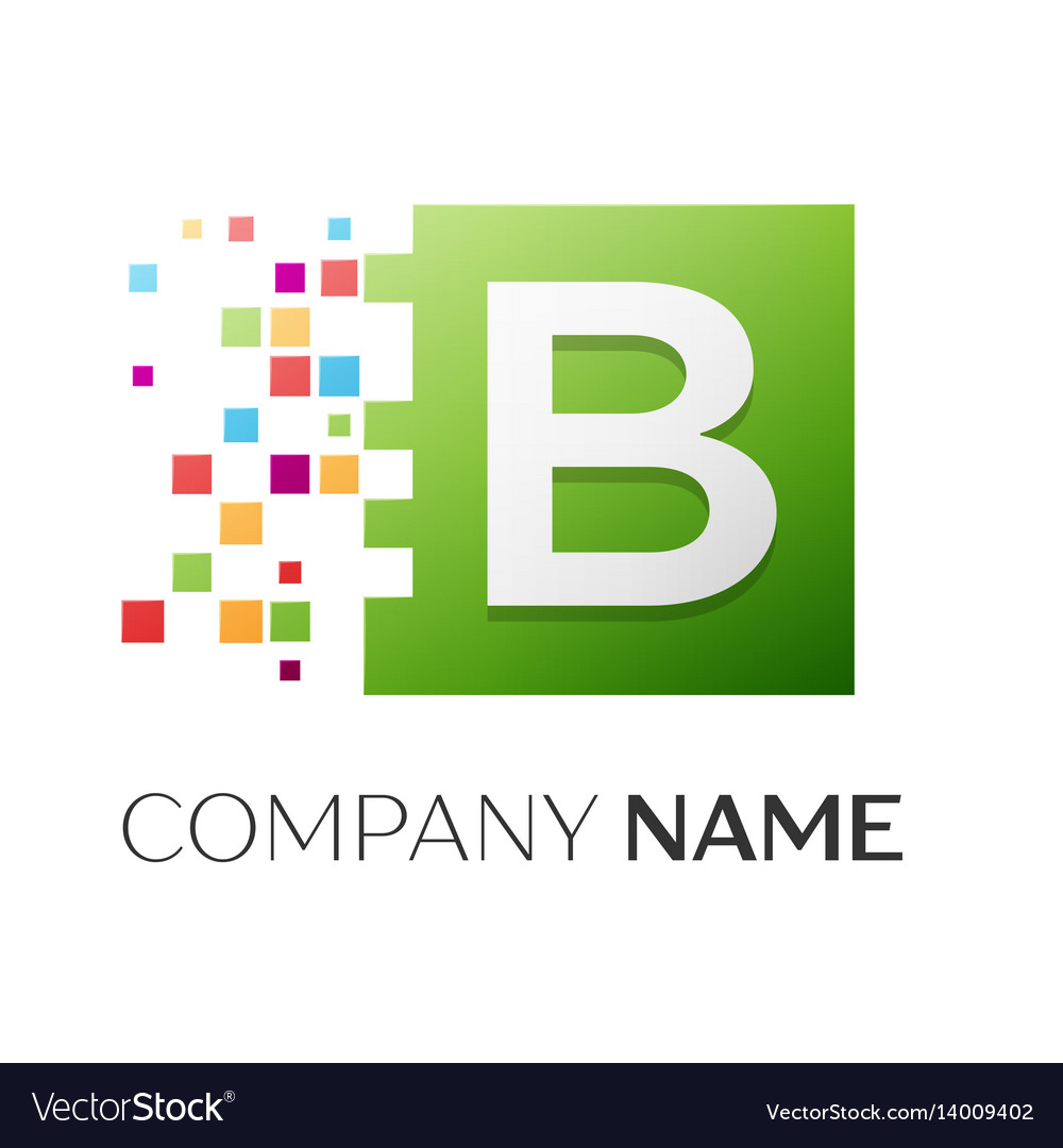 Letter b logo symbol in the colorful square