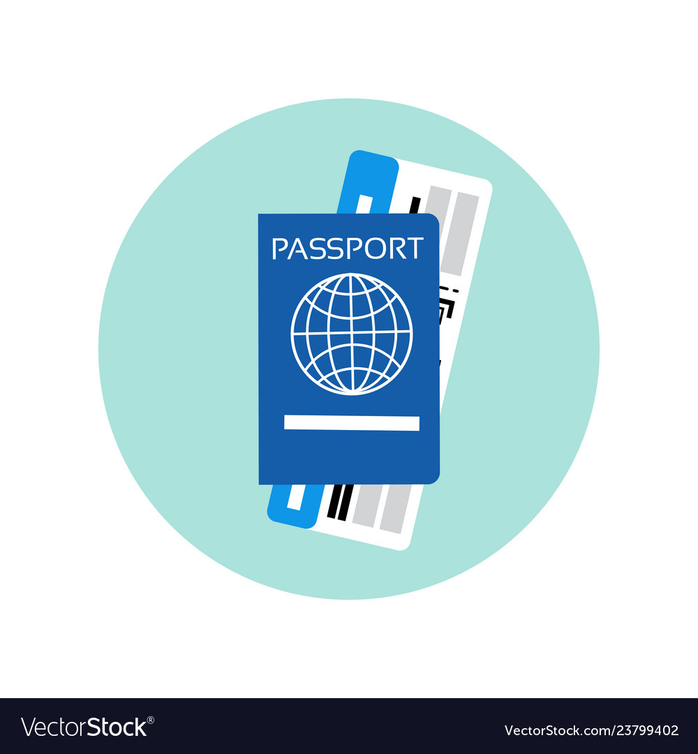 Passport and ticket on plane icon travel documents