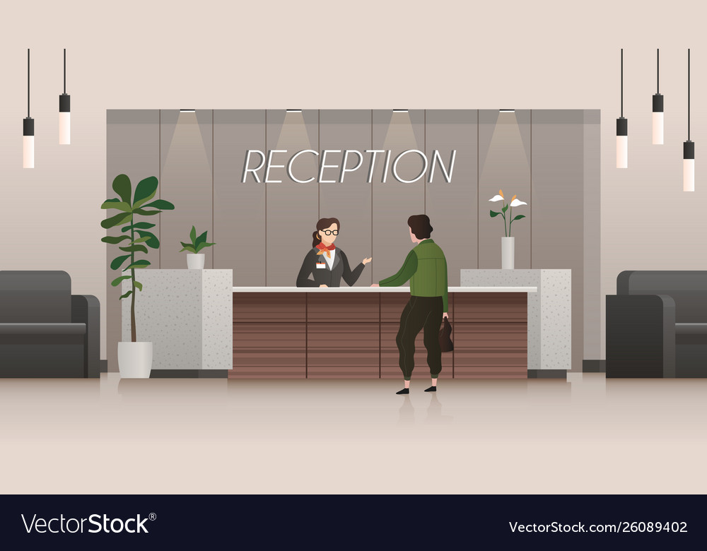 Reception service receptionist and customer in