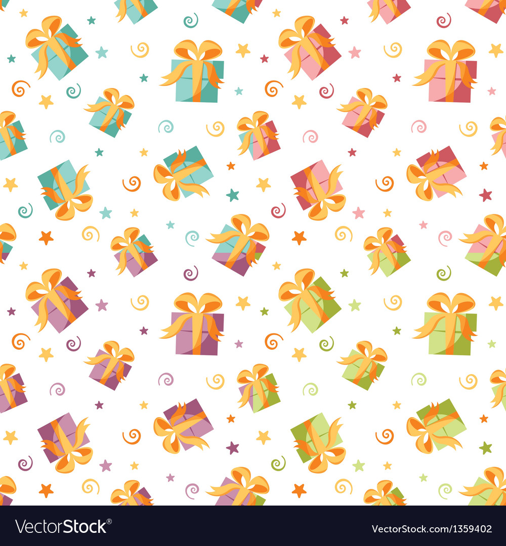 Seamless background with gift boxes in four colors