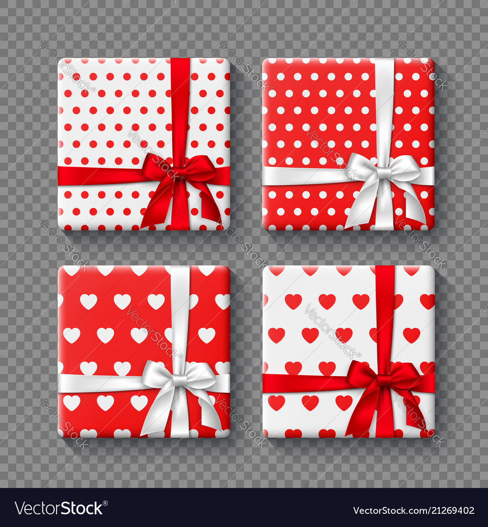 Set of 3d gift boxes with realistic bow in white