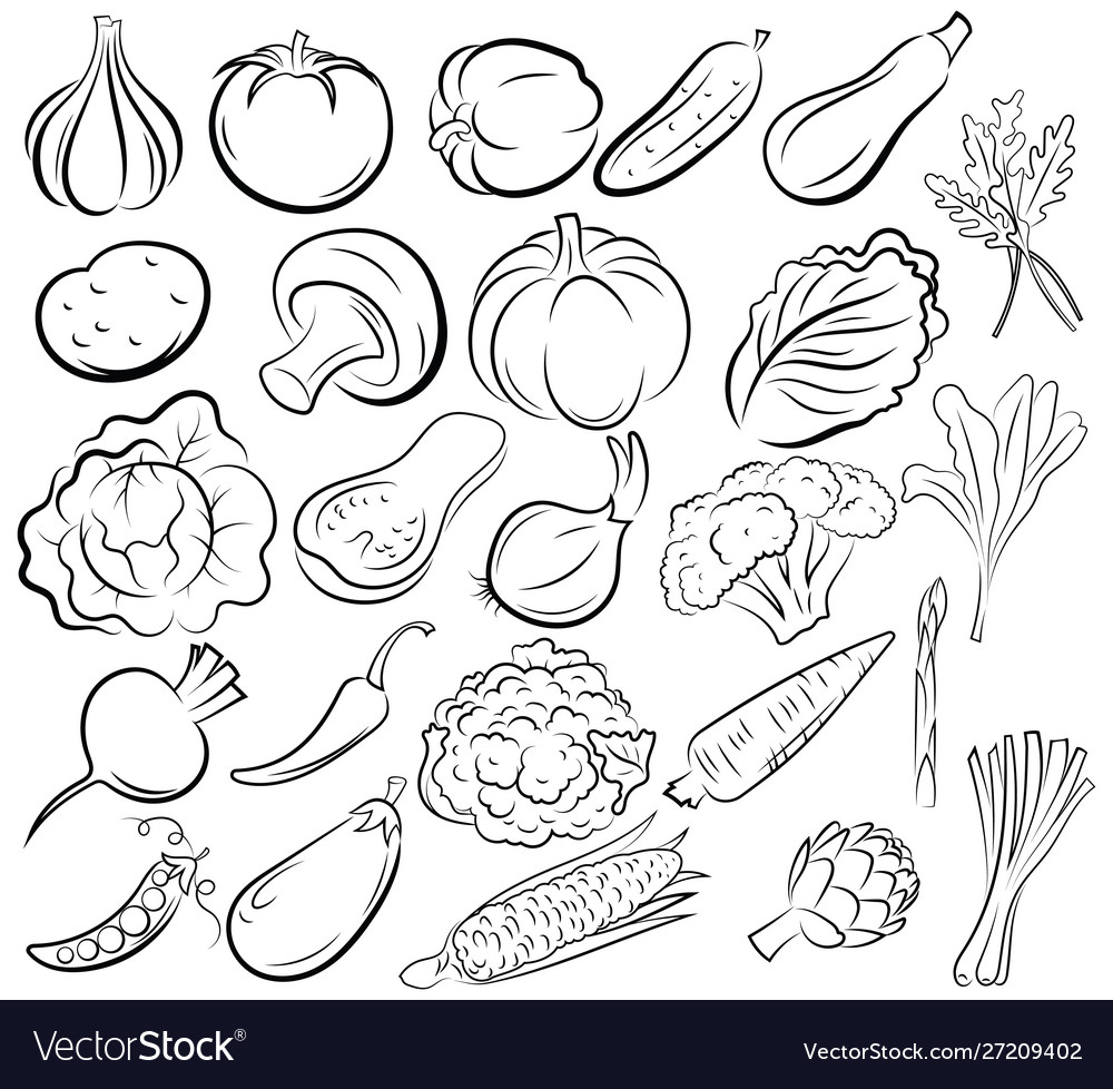 Set vegetables collection black and white