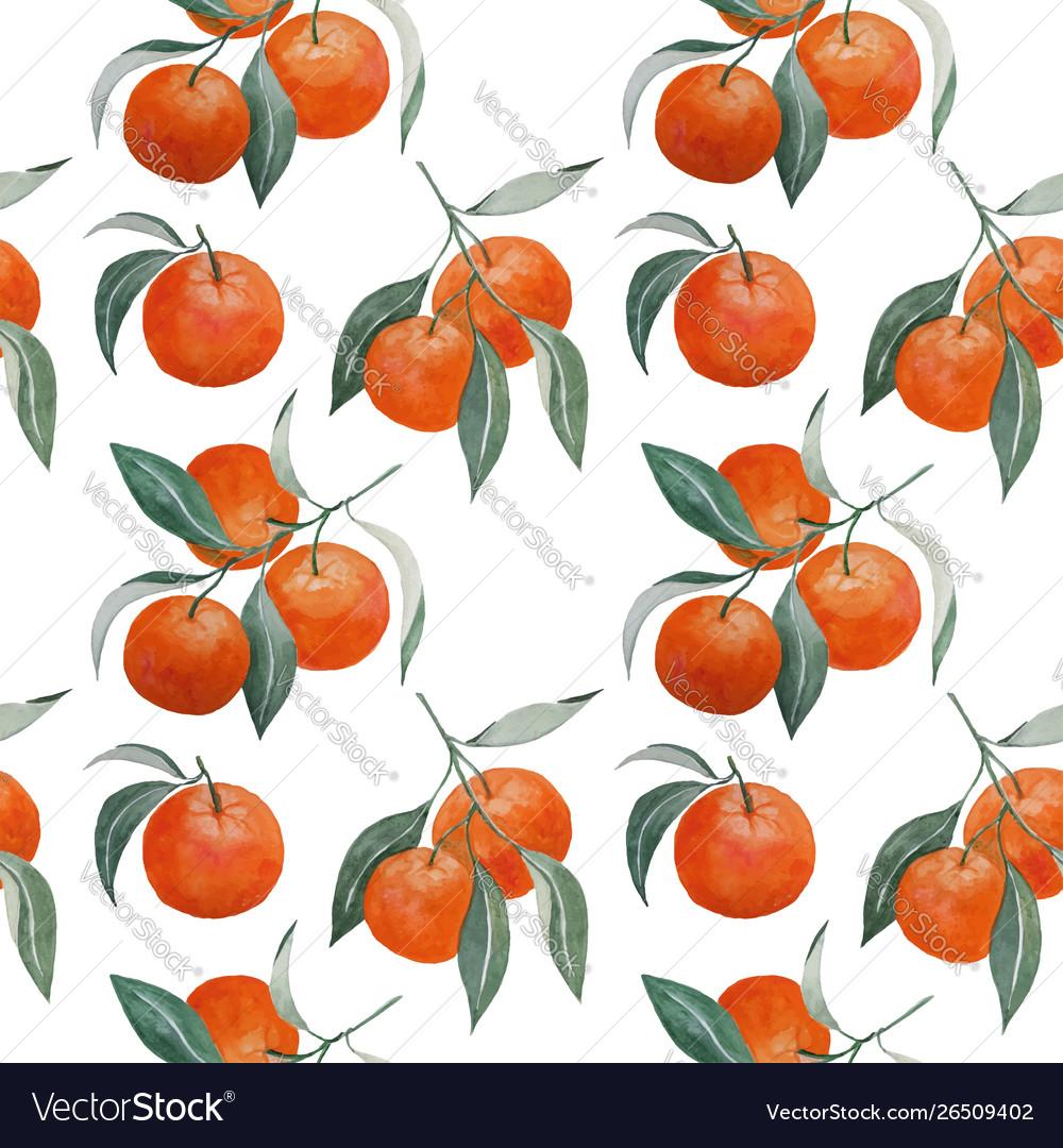 Tangerine branches seamless pattern