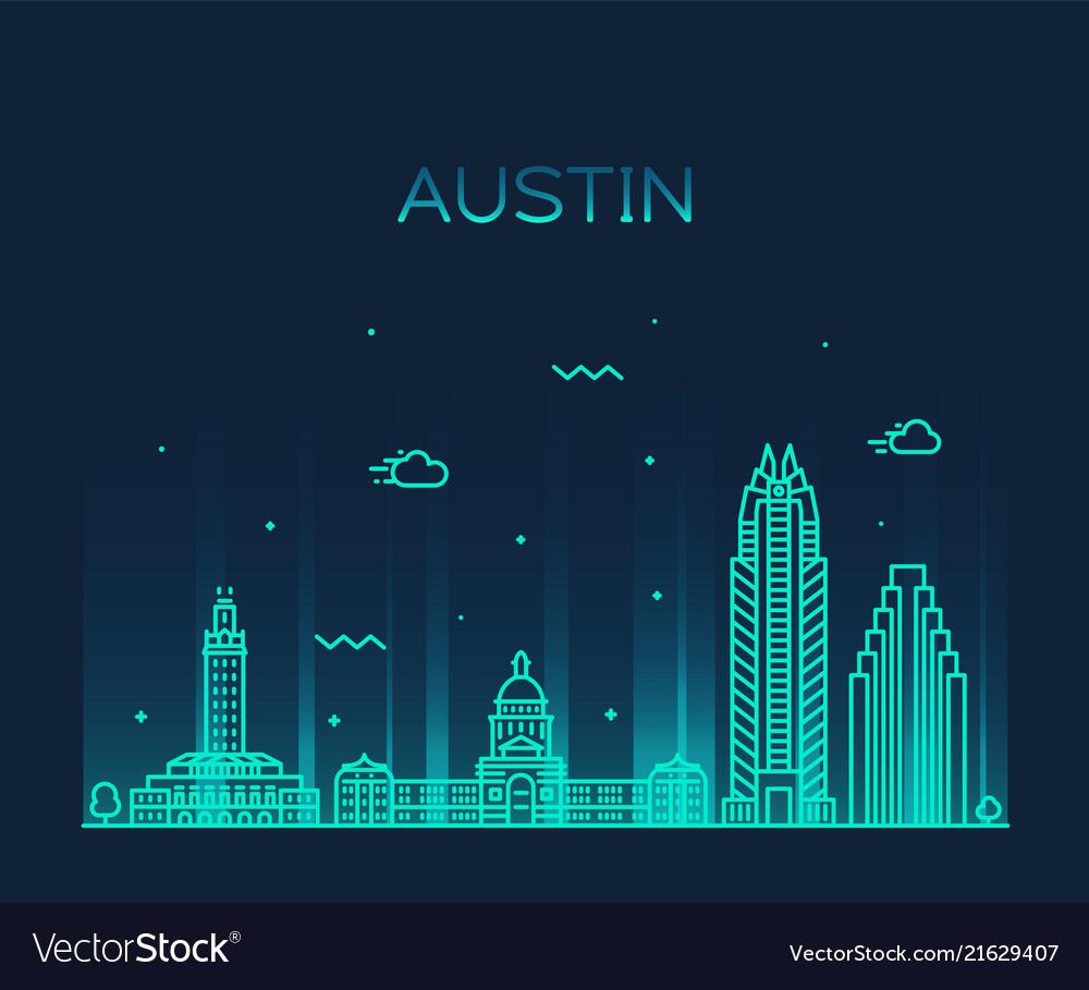 Austin skyline texas usa linear style