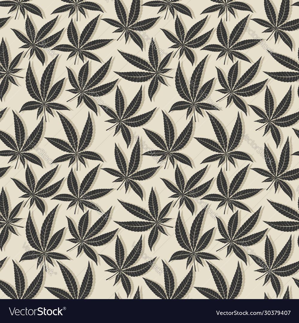 Black cannabis leaf seamless pattern
