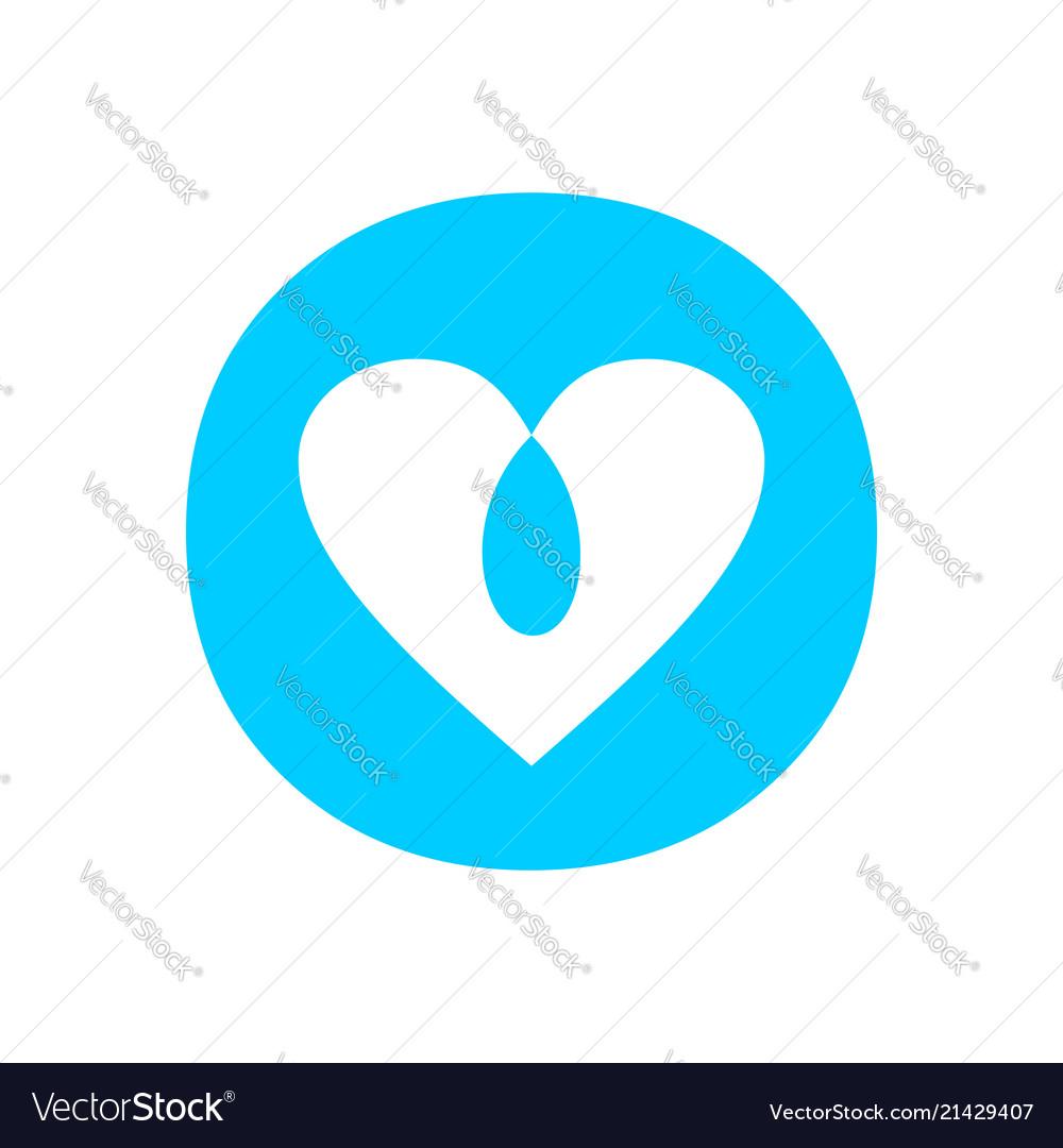Blue Love Intersection Circle Symbol Design Vector Image