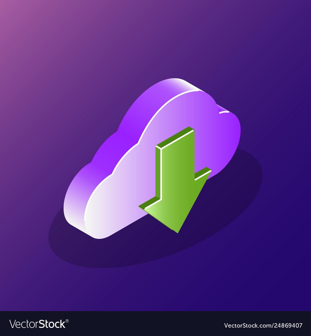 Cloud download concept 3d icon