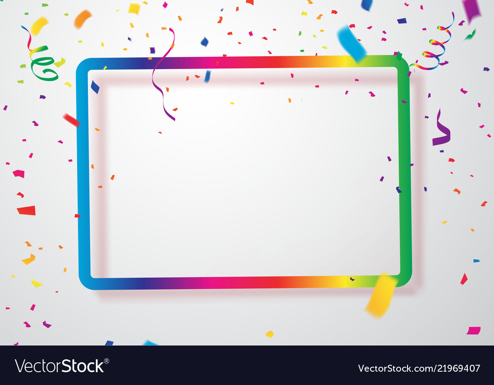 Colorful confetti with background frame template