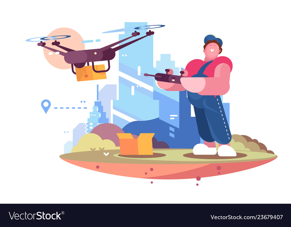 Delivery man in form controlling drone behind city