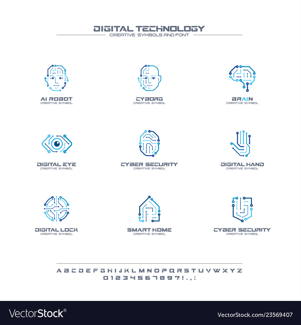 Digital technology creative symbols set font