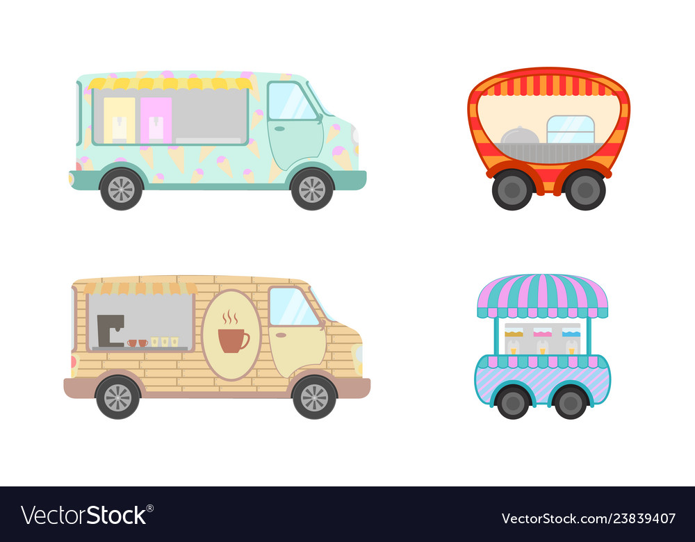 Food truck collection with ice cream and coffee