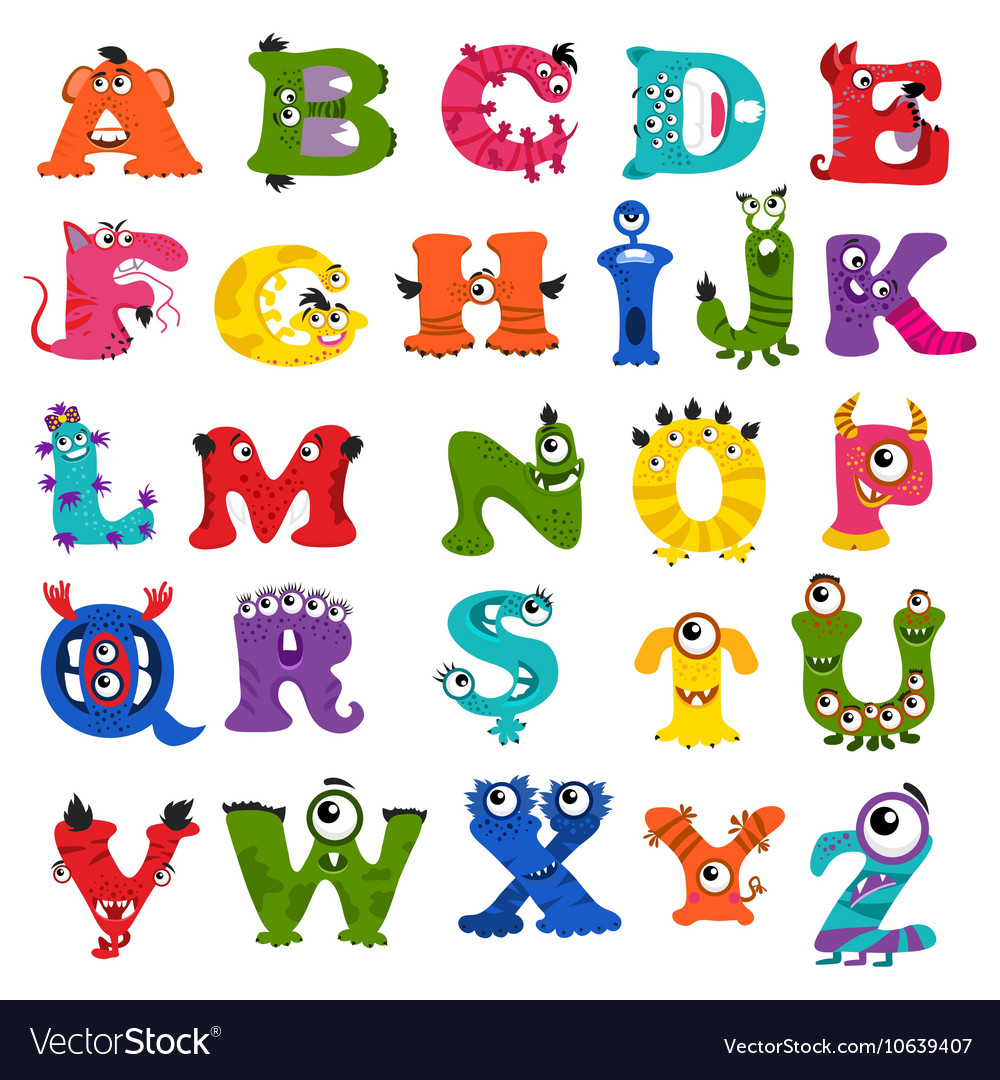 funny monster alphabet for kids royalty free vector image