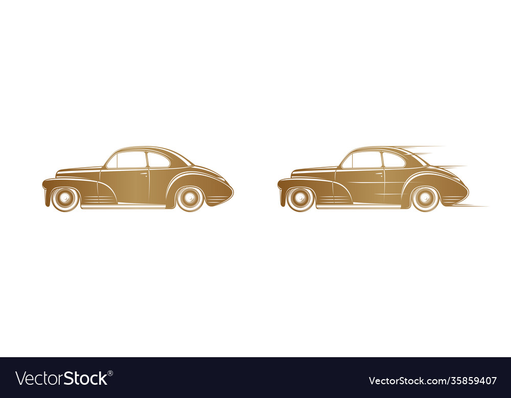 Golden classic car silhouette on white background