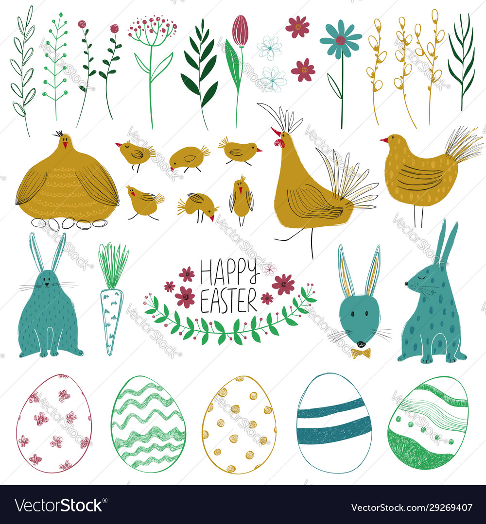 Happy easter collection with funny elements
