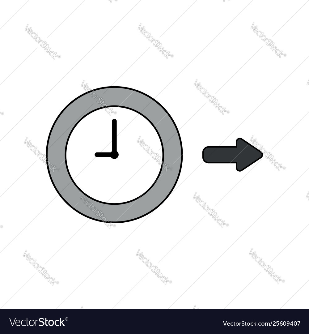 Icon concept clock with arrow right