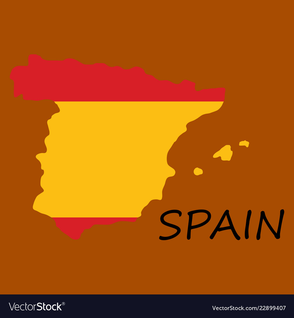 Map of spain with national flag isolated on white