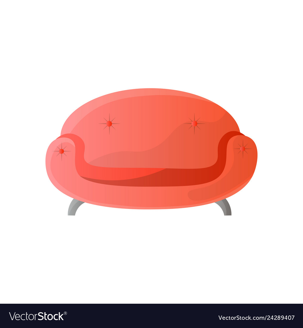 Modern red round shaped sofa with steel legs