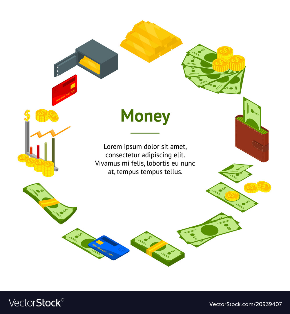 Money banner card circle isometric view