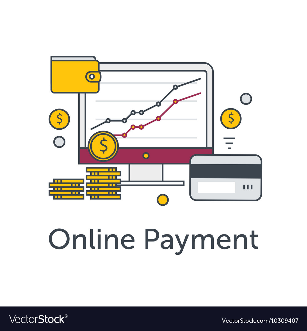 Set of flat thin line icons E-commerce or payment