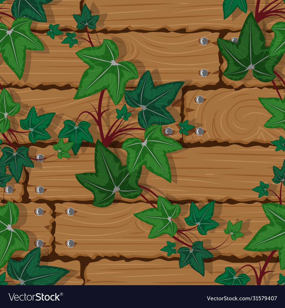 Texture wooden wall with climbing plant seamless