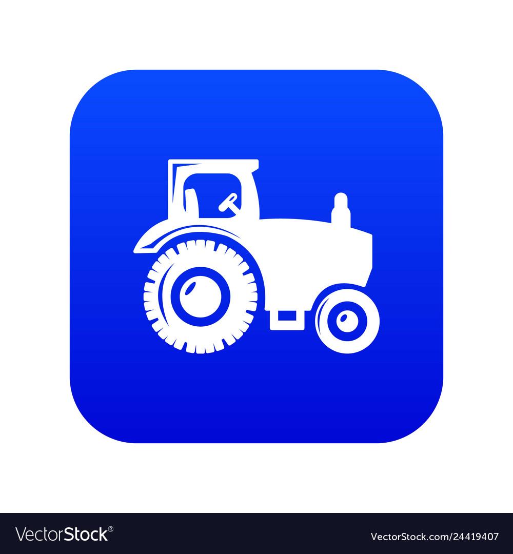 Tractor Icon Blue Vector Image