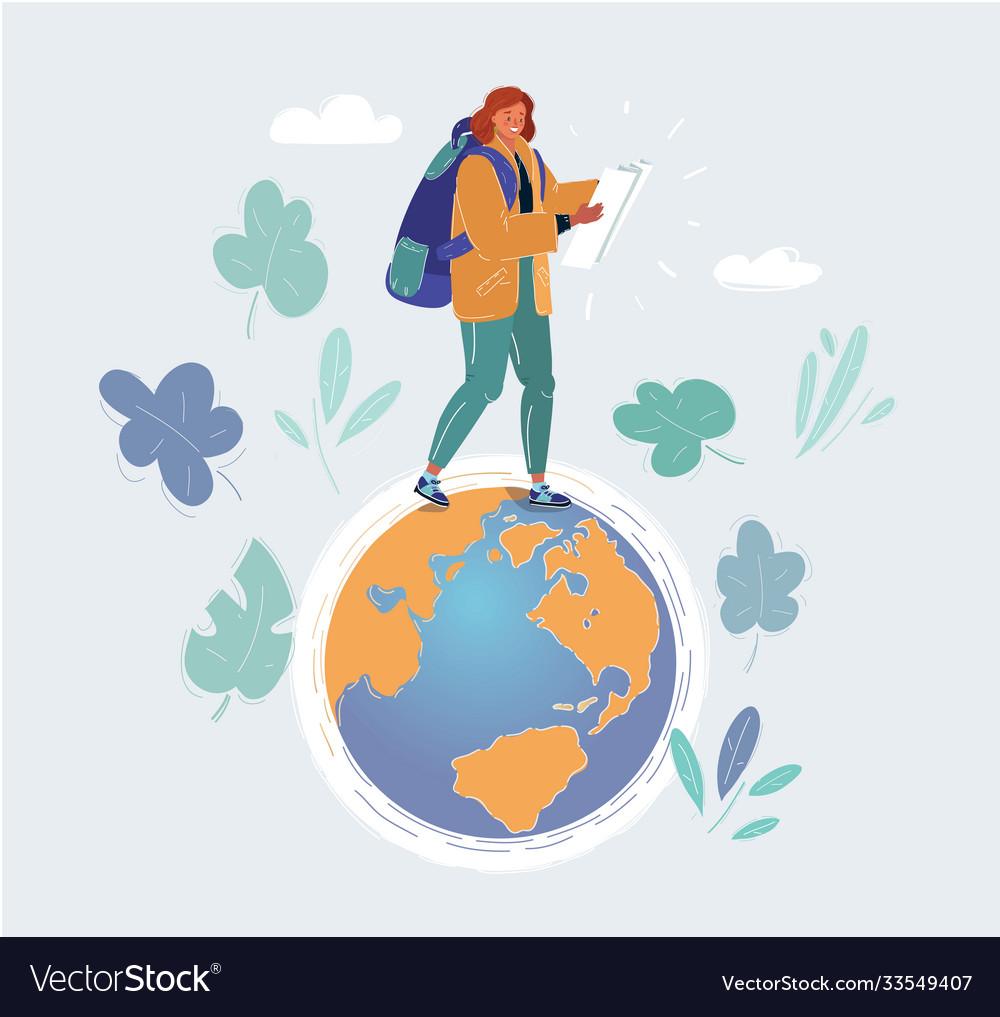 Woman step on small globe