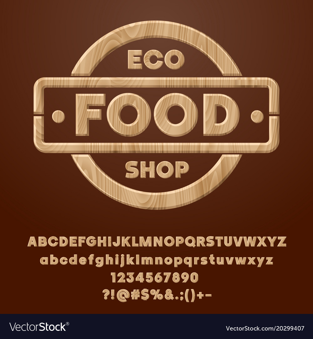 Wood healthy lifestyle label eco food shop vector image