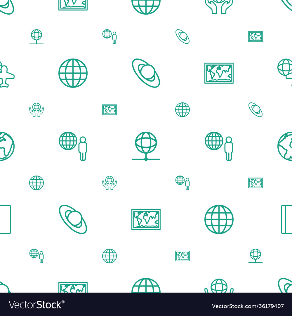 World icons pattern seamless white background