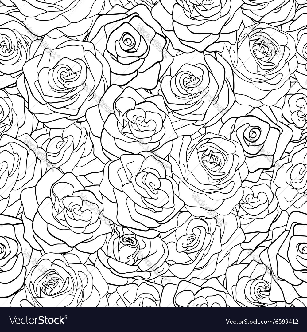 Black and white seamless pattern in roses