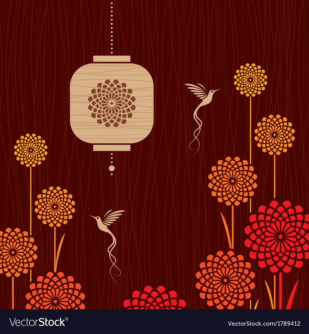 Card With Birds Flowers And Lantern Royalty Free Vector