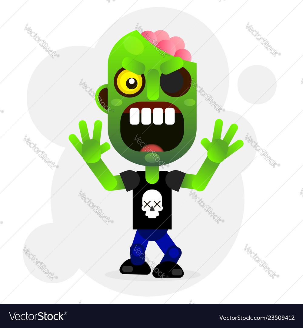 Cartoon funny green zombie