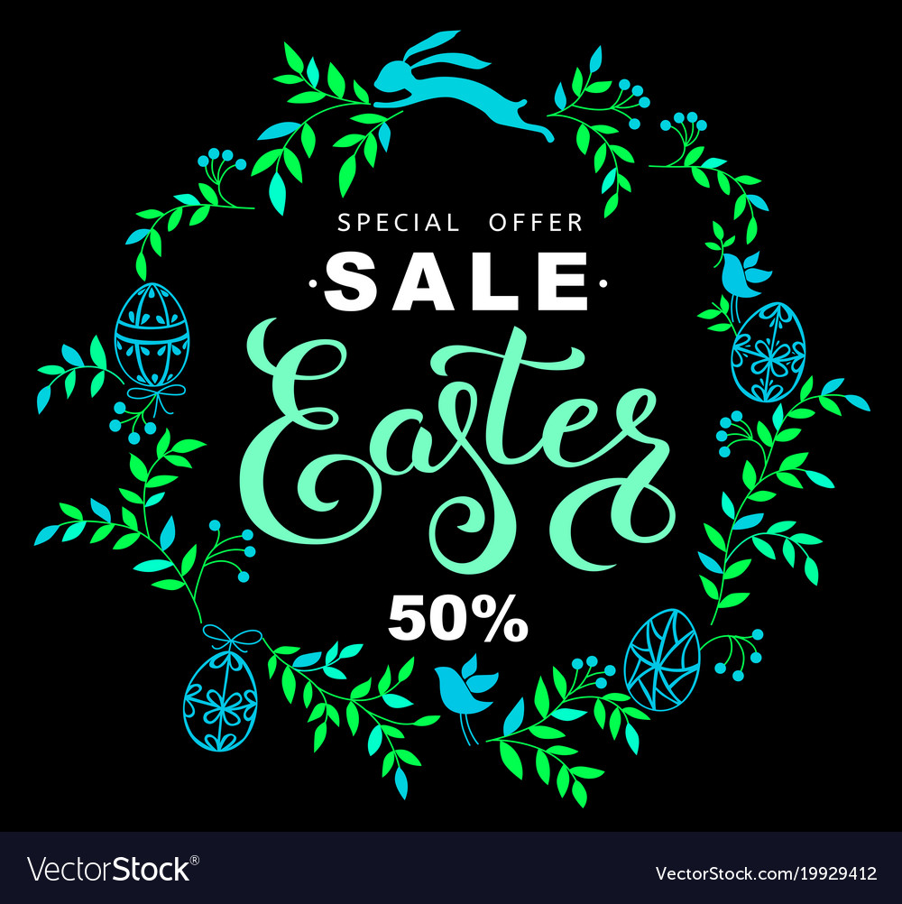 Easter sale banner with wreath of blue leaves and