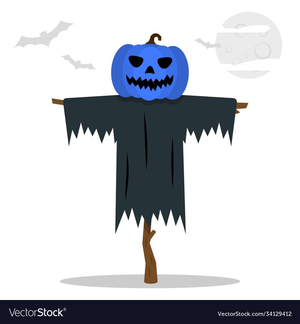 Halloween scarecrows with a jack o lantern head