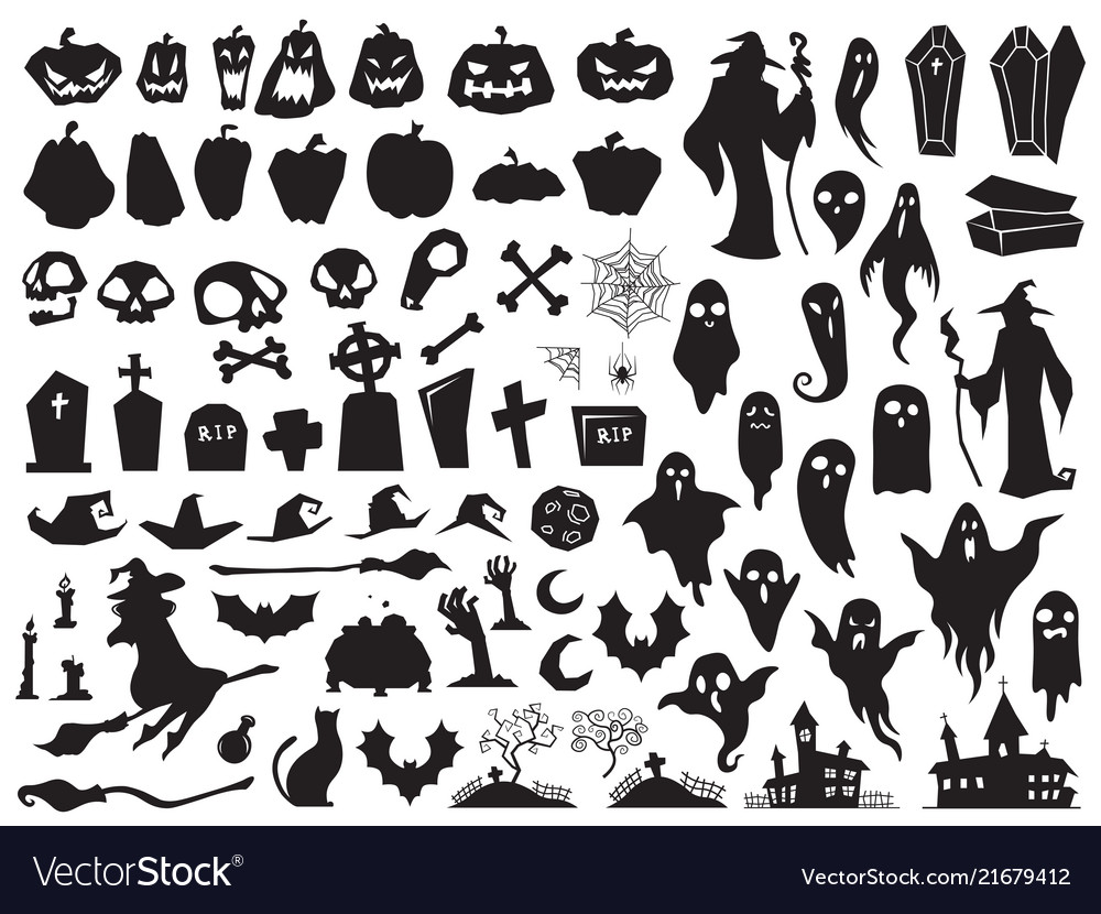 Halloween silhouettes spooky evil witch creepy