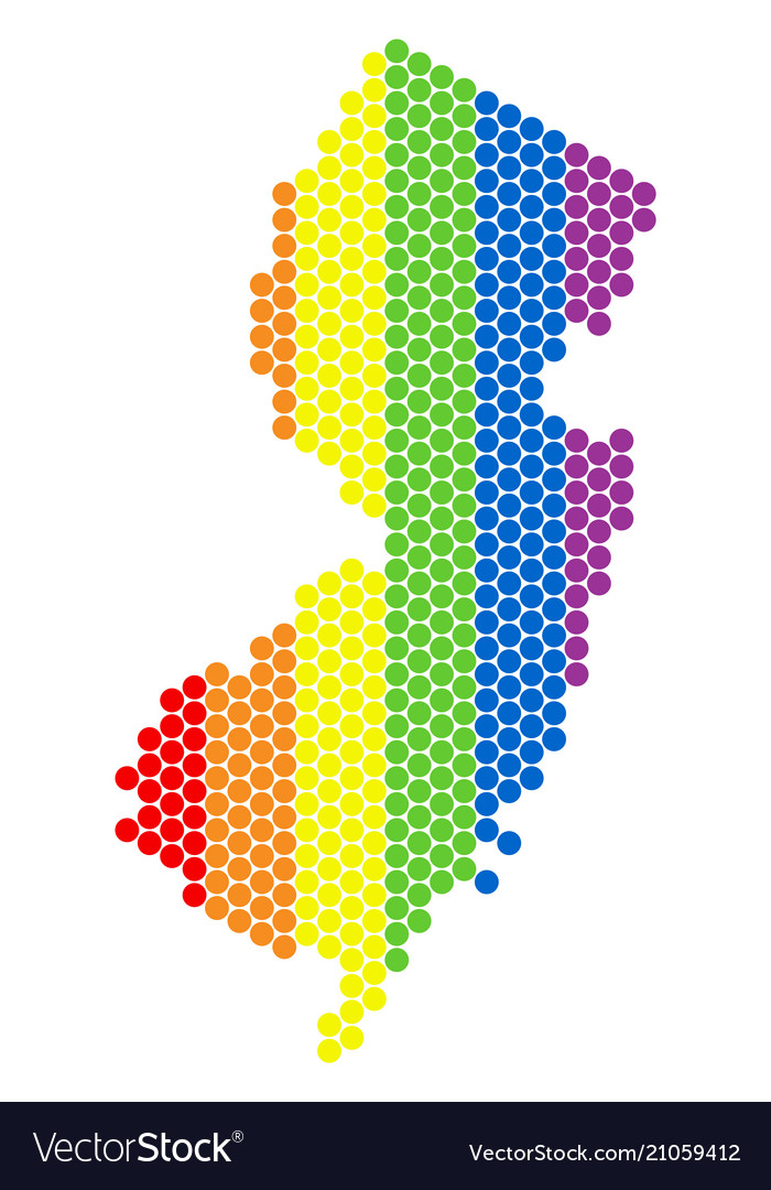 Lgbt spectrum pixel new jersey state map Vector Image