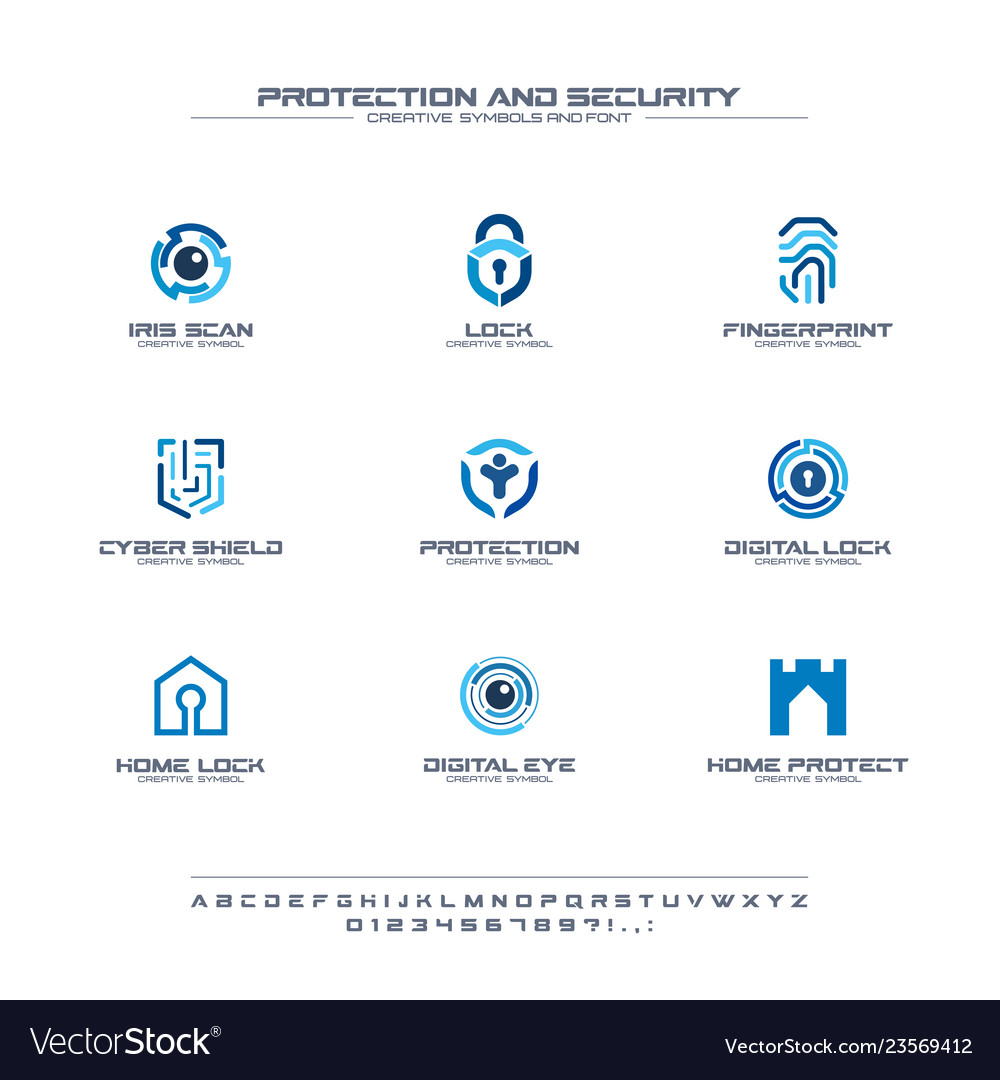 Protection and security creative symbols set font