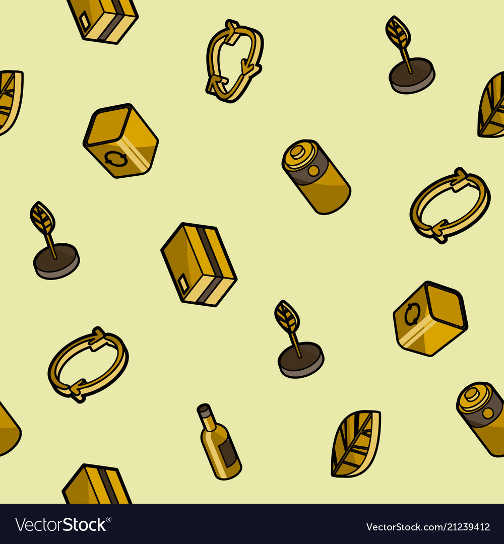 Recycling color outline isometric pattern