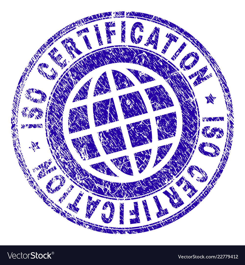 Scratched Textured Iso Certification Stamp Seal Vector Image