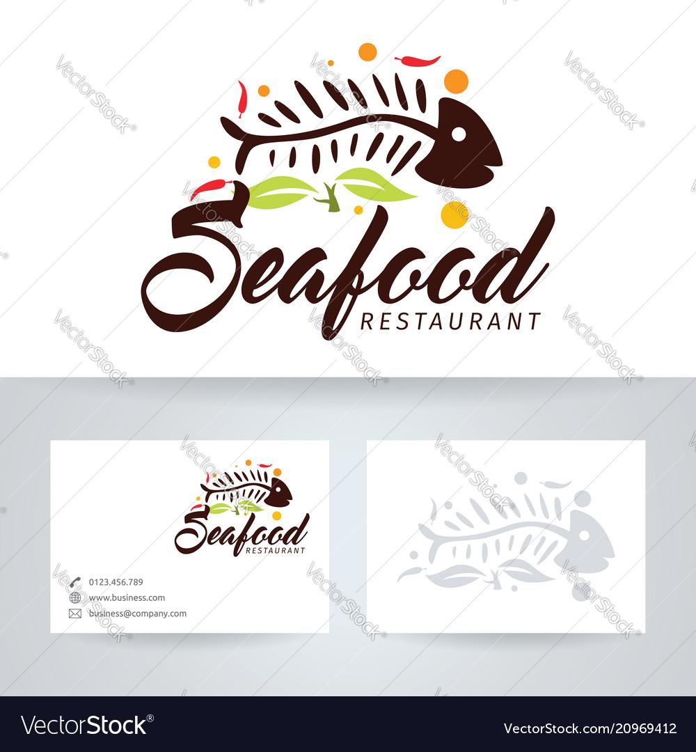 Seafood Restaurant Logo Design Royalty Free Vector Image