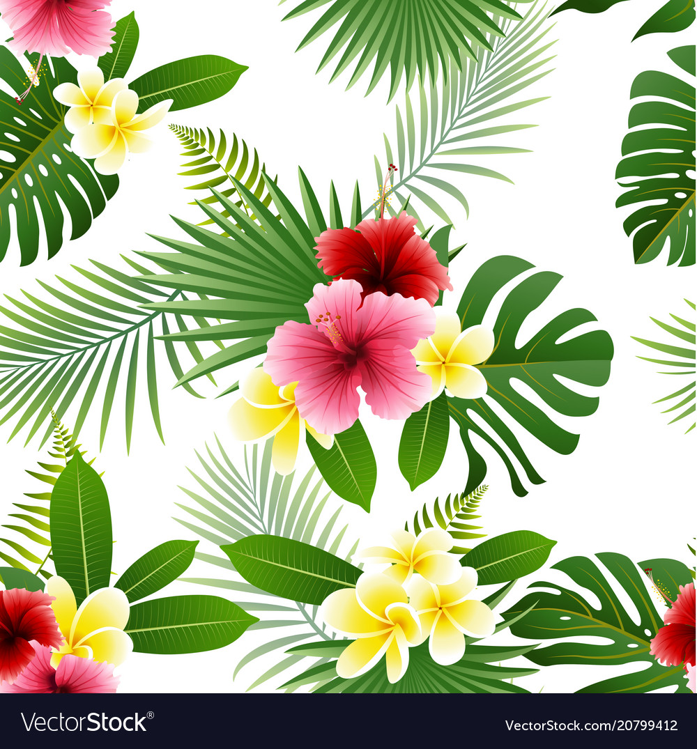 Seamless pattern of flowers and tropical leaves