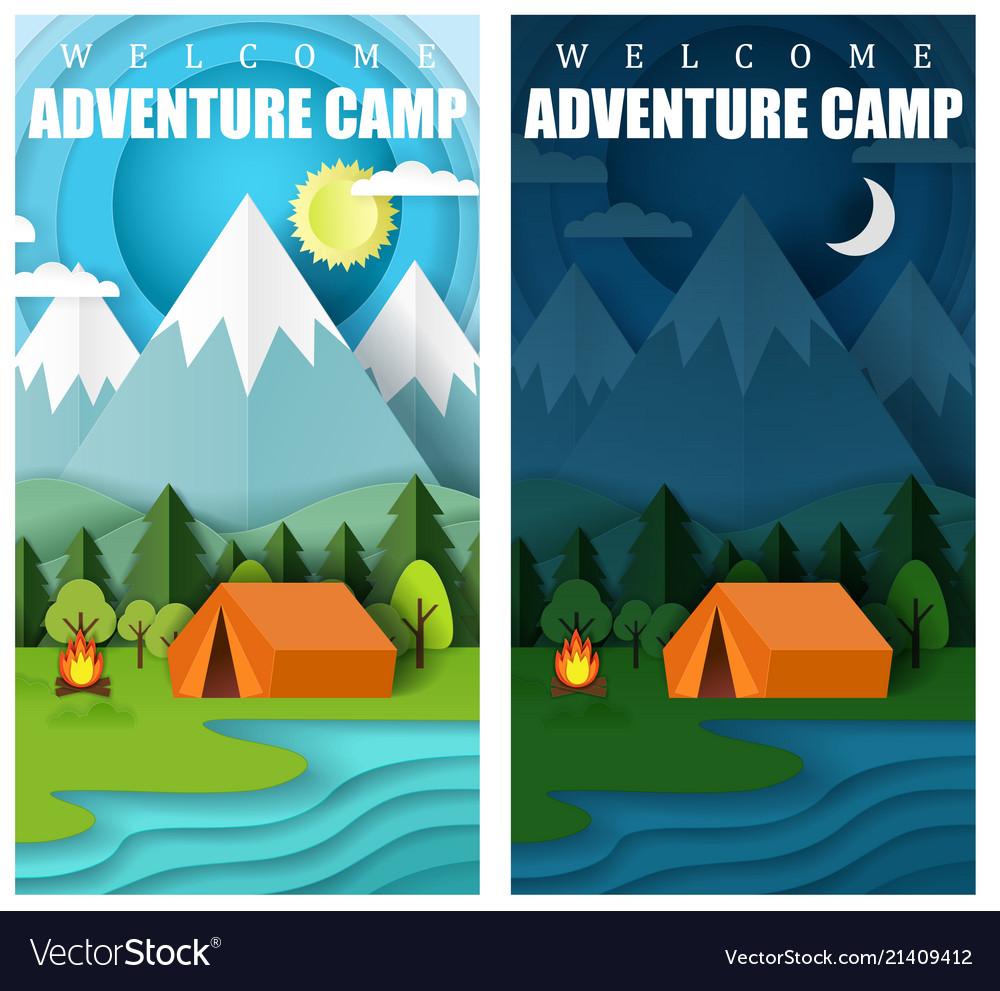 Summer camping paper cut banner set