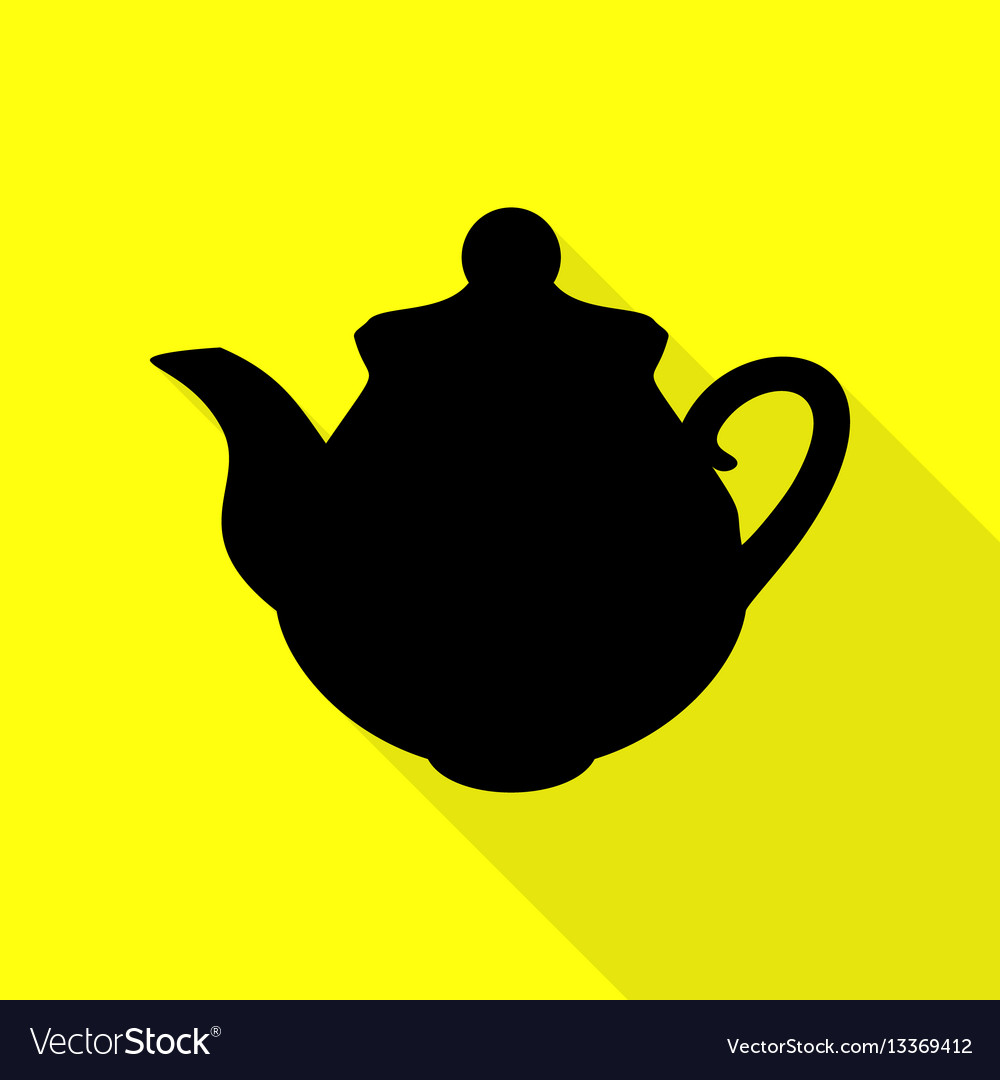 Tea maker kitchen sign black icon with flat style vector image