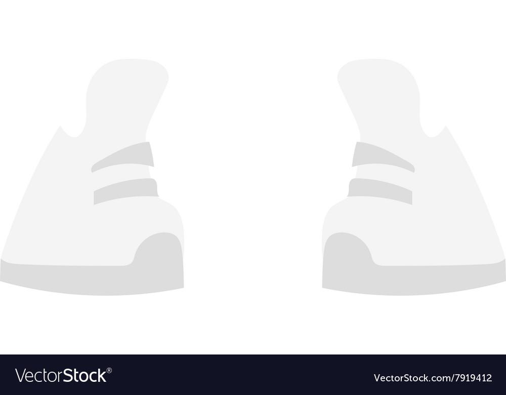 White sneakers fashion sport footwear flat vector image