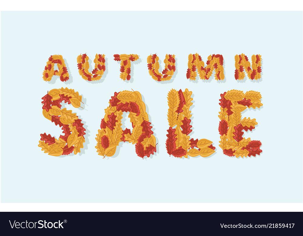 Autumn sale text colorful seasonal fall leaves