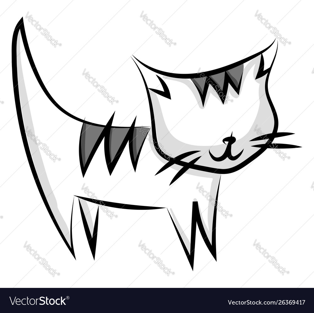 Cat drawing on white background