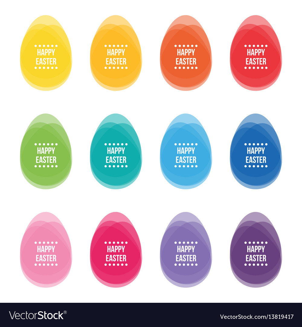 Colorful layered easter eggs set collection