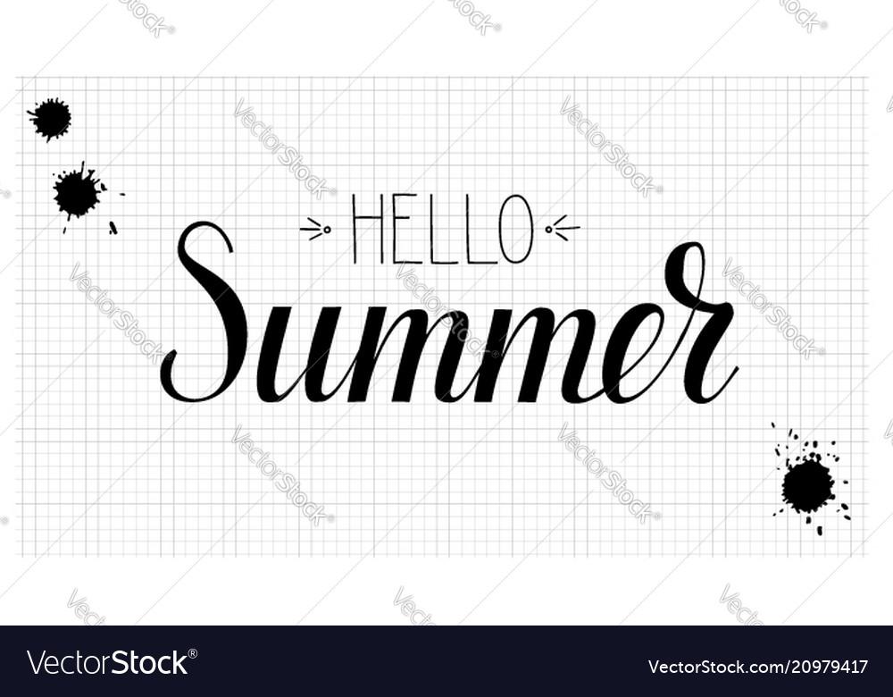 Design of calligraphic text hello summer